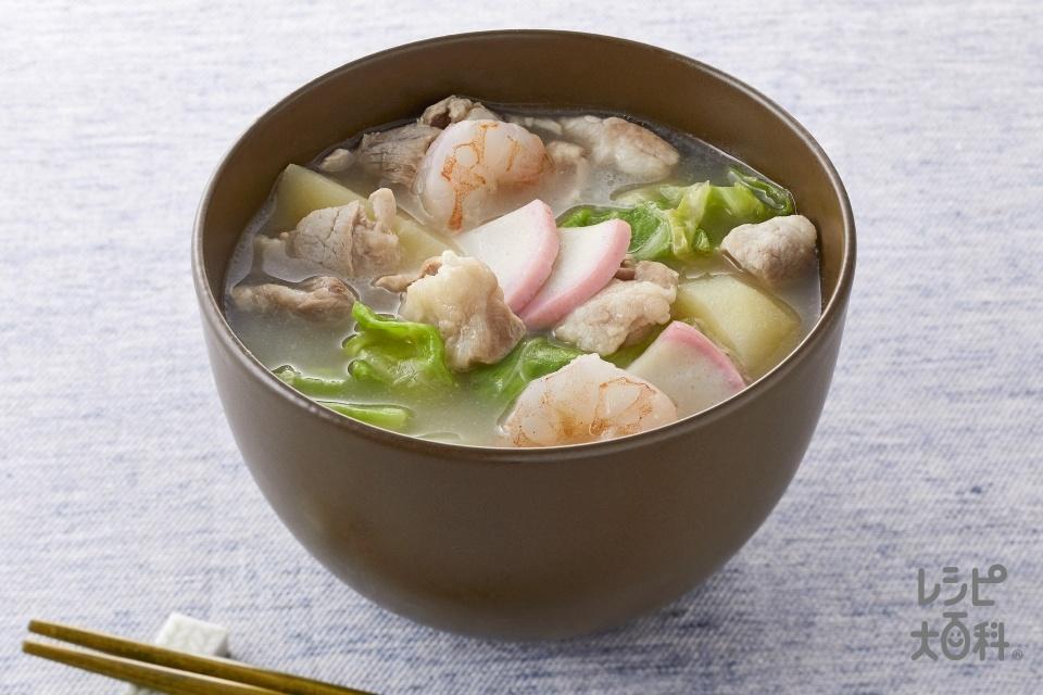 ちゃんぽん風濃厚白湯スープ(豚こま切れ肉+むきえび(小)を使ったレシピ)