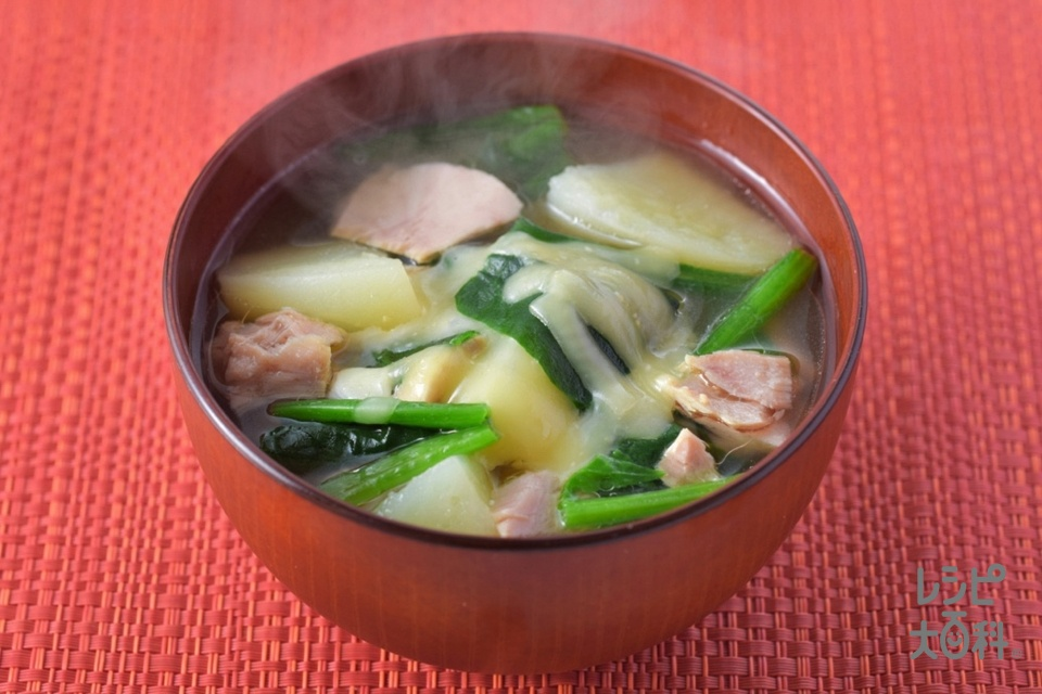 ツナじゃがほうれん草のみそ汁(ツナ缶(小)+じゃがいもを使ったレシピ)