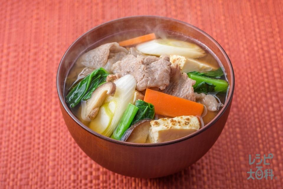 牛肉入りごちそうみそ汁(牛こま切れ肉+長ねぎを使ったレシピ)