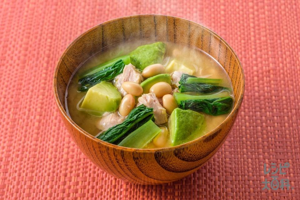 ツナとアボカドのみそ汁(アボカド+小松菜を使ったレシピ)