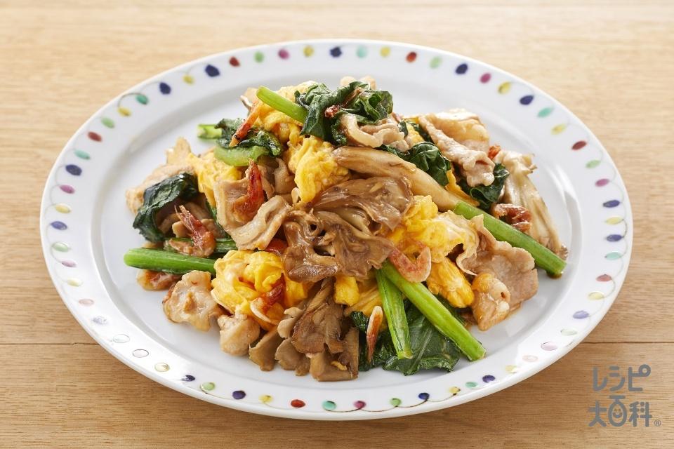 豚肉と小松菜のオイマヨ炒め(豚ロース薄切り肉+小松菜を使ったレシピ)