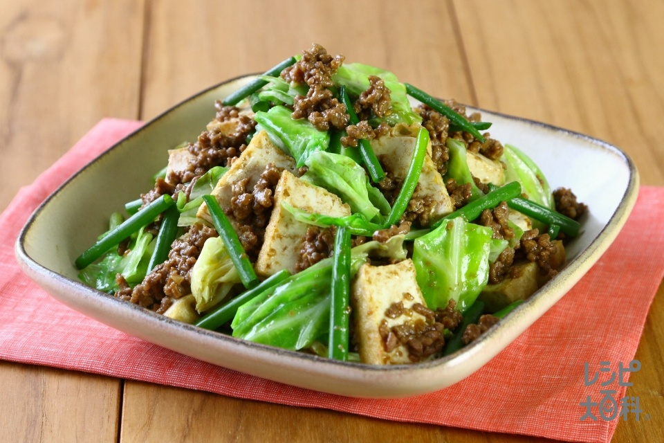 厚揚げ肉みそキャベツ(豚ひき肉+キャベツを使ったレシピ)