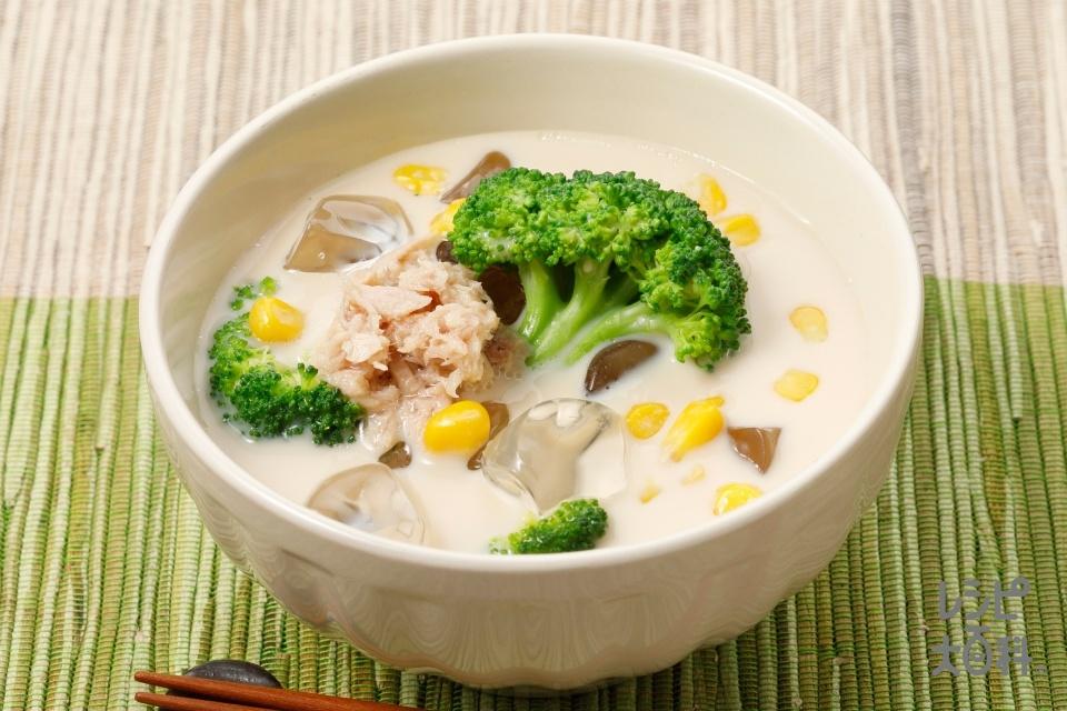 ブロッコリーの冷やし豆乳みそ汁(ブロッコリー+ツナ缶を使ったレシピ)