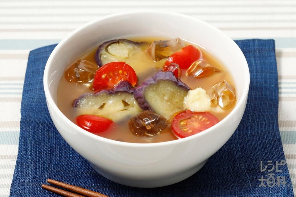 トマトとナスの冷やしみそ汁(ミニトマト+なすを使ったレシピ)
