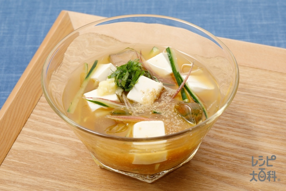 豆腐ときゅうりの冷やしみそ汁(絹ごし豆腐+きゅうりを使ったレシピ)