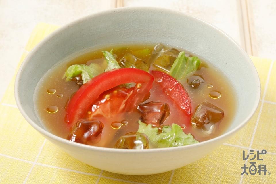 トマトとレタスの冷やしみそ汁(トマト+レタスを使ったレシピ)