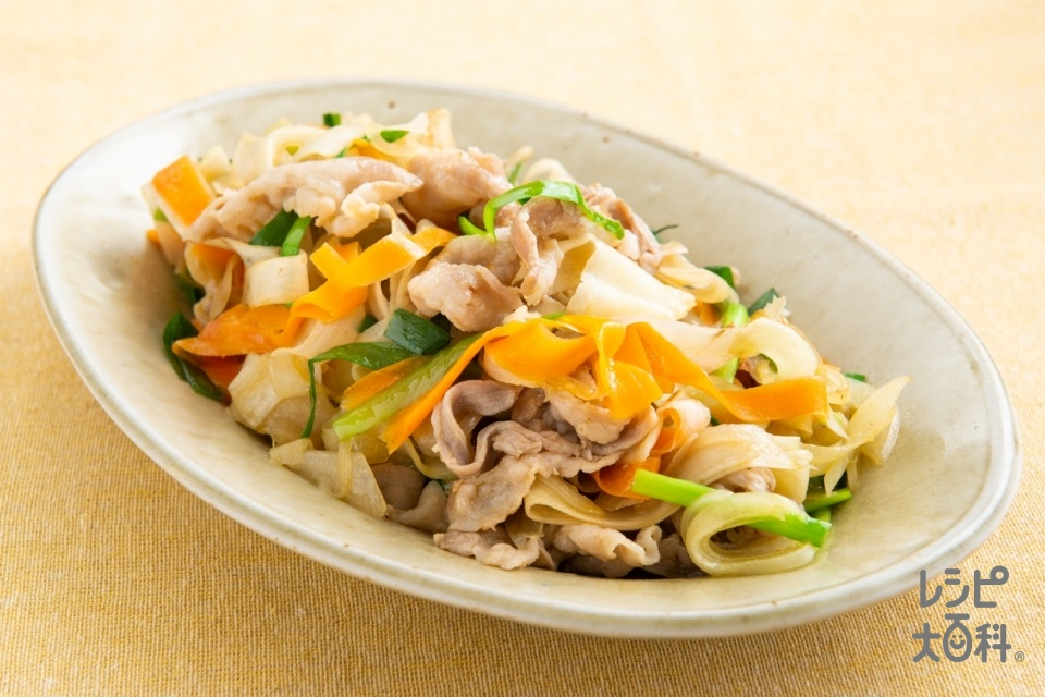 ピーラー野菜と豚肉の香味炒め