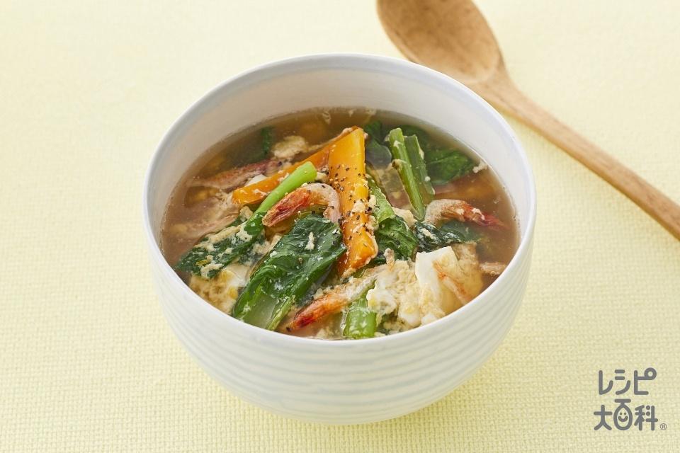 小松菜のふわ玉スープ(小松菜+にんじんを使ったレシピ)