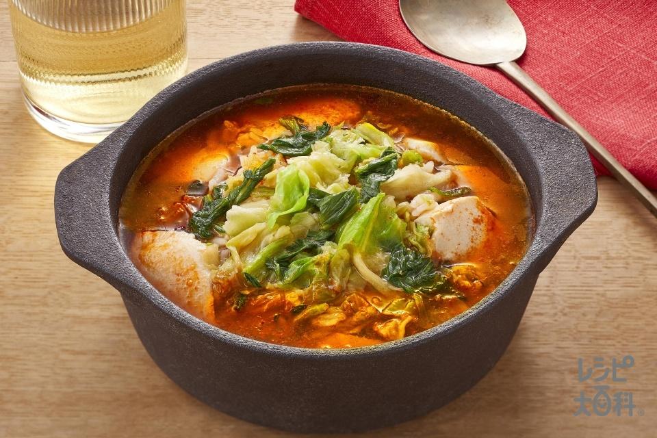 たっぷり野菜のヘルシースンドゥブクッパ(ご飯+絹ごし豆腐を使ったレシピ)