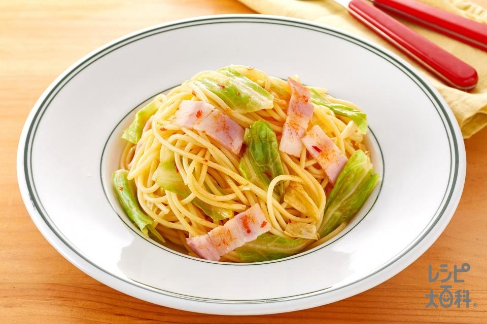 秒速 うま辛ペペロンチーノ(スパゲッティ(ゆで)+キャベツを使ったレシピ)