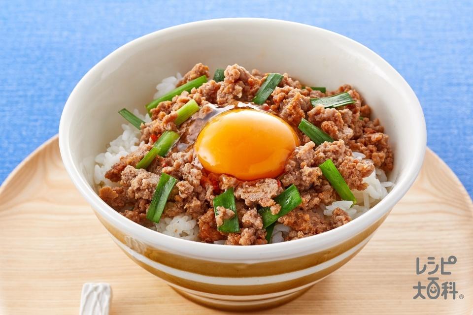 秒速 うま辛豚にらスタミナ丼(豚ひき肉+にらを使ったレシピ)