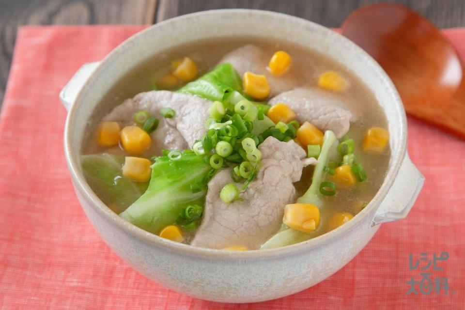 みそラーメン風香味スープ(豚ロース薄切り肉+キャベツを使ったレシピ)