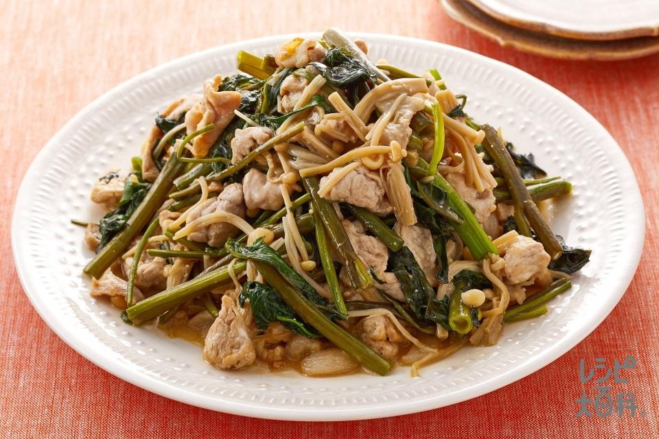 空心菜と豚肉のオイマヨ炒め(豚こま切れ肉+空心菜を使ったレシピ)