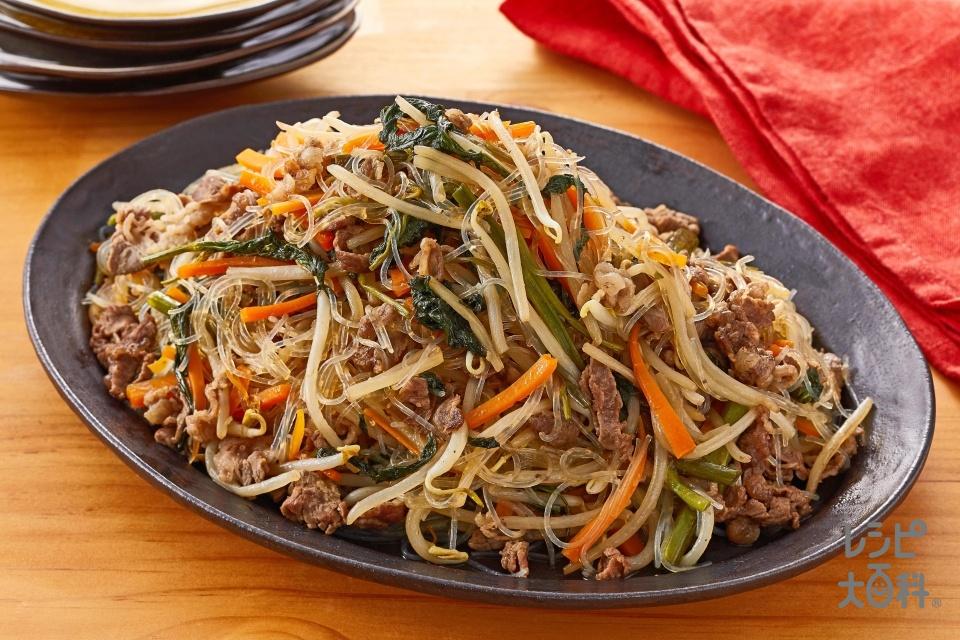 牛肉と空心菜のチャプチェ風(牛切り落とし肉+空心菜を使ったレシピ)
