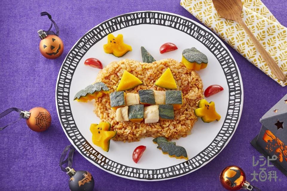 ハロウィンかぼちゃパエリア(米+鶏もも肉を使ったレシピ)