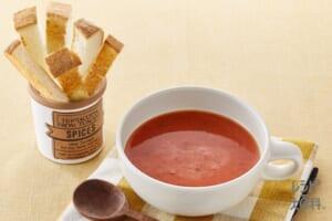 トースト × トマト dip スープ
