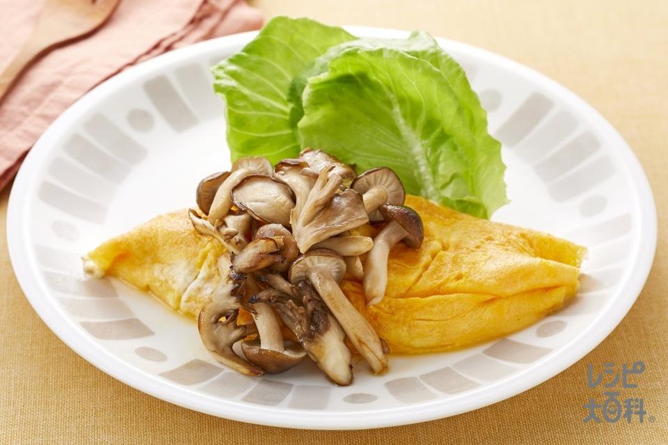 豆腐オムレツ きのこの香味バター炒めがけ(卵+絹ごし豆腐を使ったレシピ)