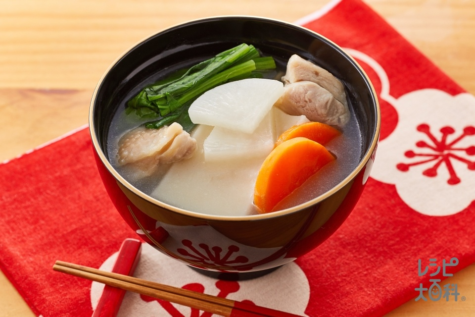 簡単お雑煮(切り餅+鶏もも肉を使ったレシピ)