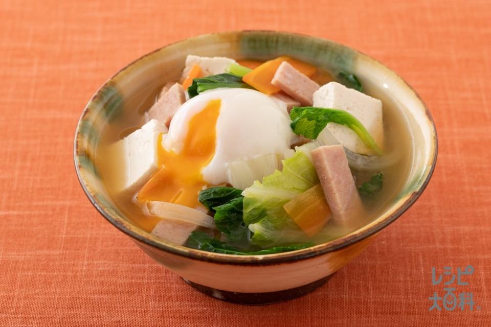 沖縄風みそ汁(木綿豆腐+ポークランチョンミートを使ったレシピ)