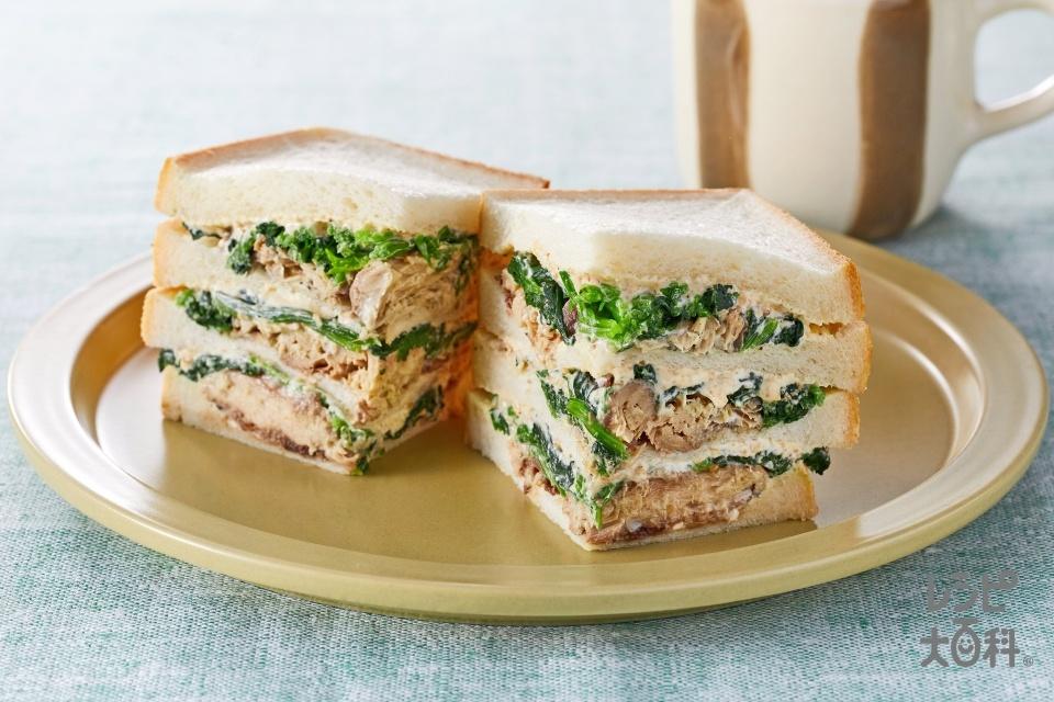 ほうれん草とさばのミルフィーユサンド(食パン10枚切り+ほうれん草を使ったレシピ)