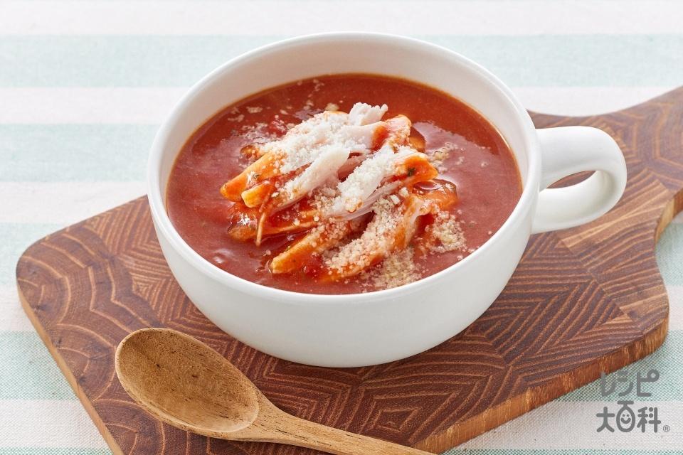 サラダチキン de まんぷくスープ(粉チーズを使ったレシピ)