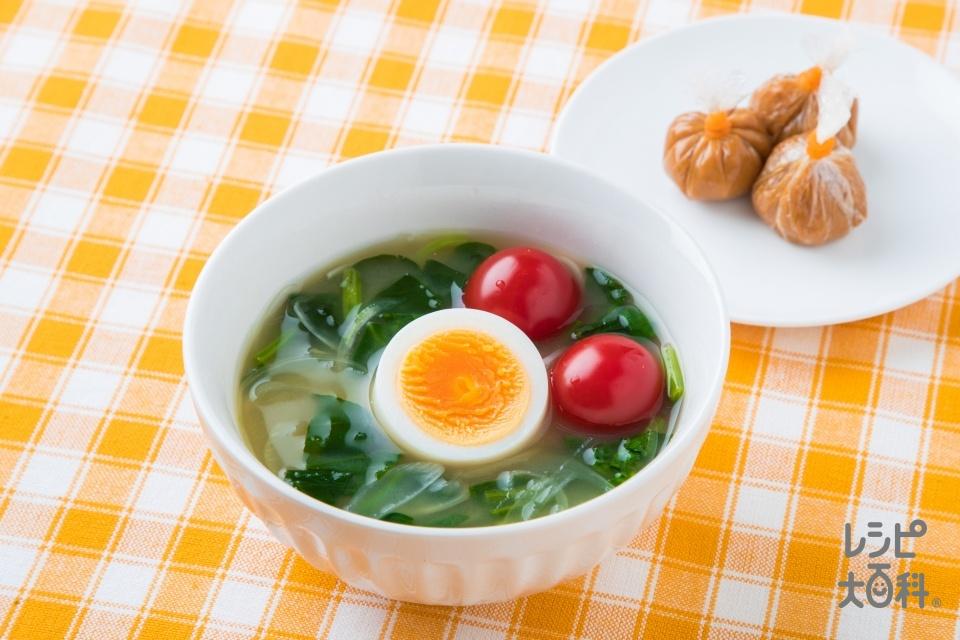 レンジで簡単!三色野菜と卵のおみそ汁