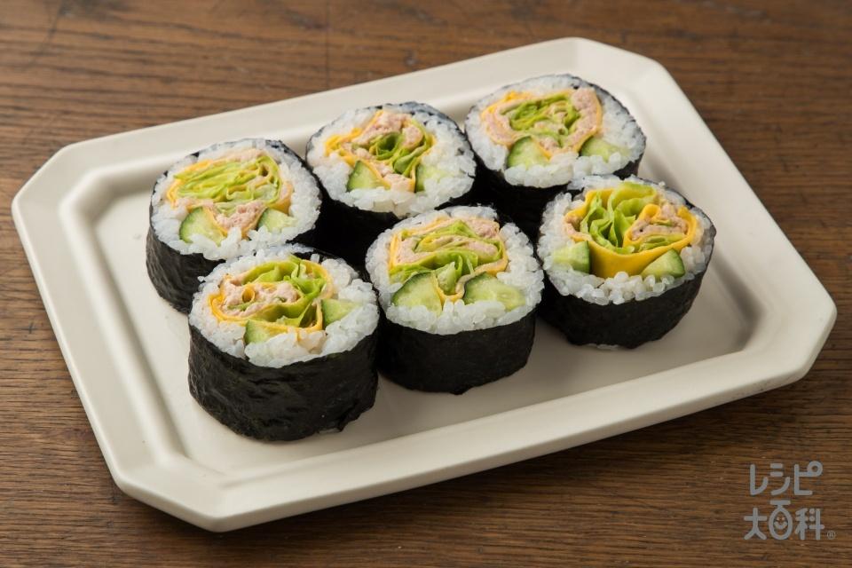 お花のサラダ風巻き寿司~ツナマヨネーズ~(米+ツナ油漬缶を使ったレシピ)