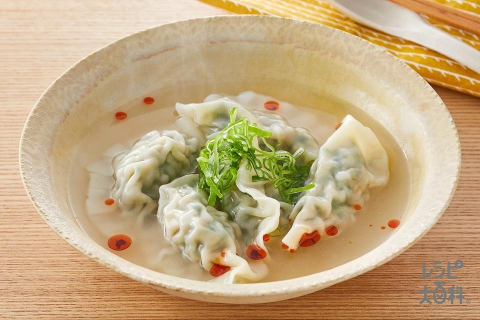 パワフルにら餃子スープ(餃子の皮+豚ひき肉を使ったレシピ)