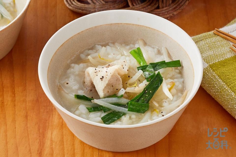 鍋の〆 にら玉炒め鍋で作るクッパ(ご飯を使ったレシピ)