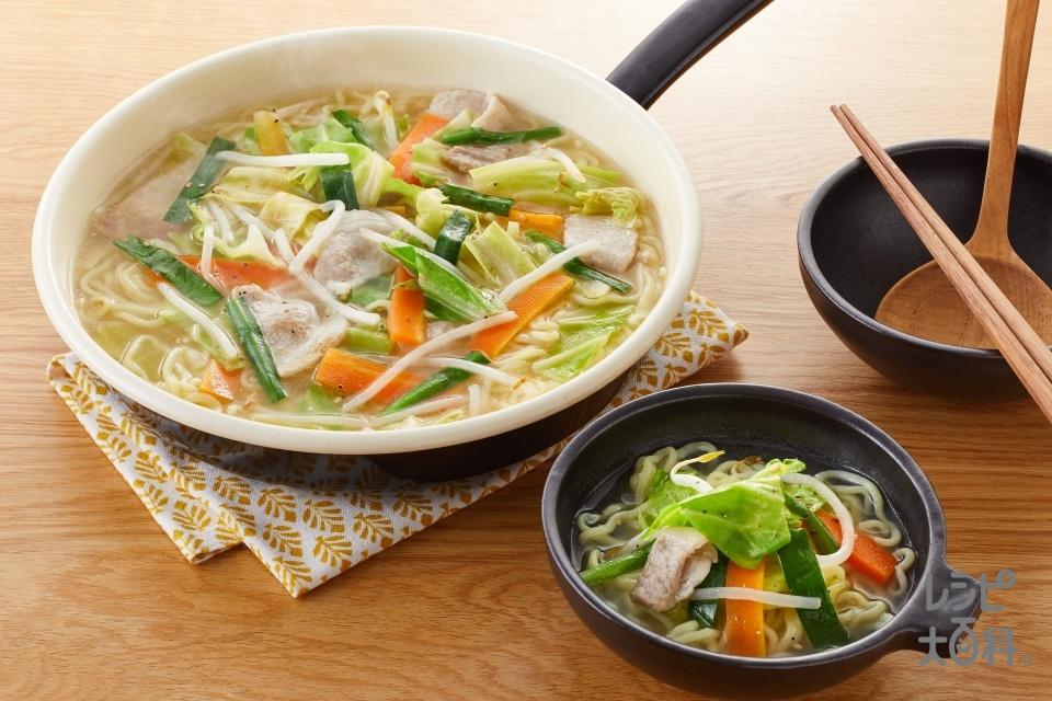 鍋の〆 豚バラキャベツの炒め鍋で作るタンメン(中華ゆでめんを使ったレシピ)