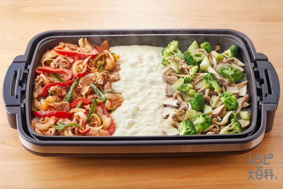 豚肉と野菜のナポリタン風炒め × ブロッコリーときのこの蒸し焼き