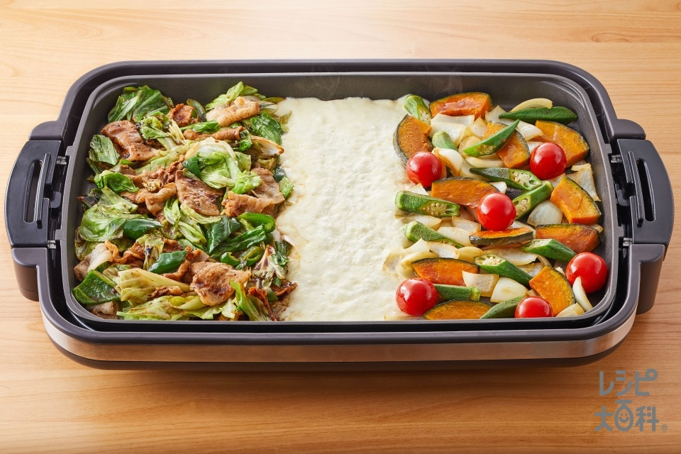 回鍋肉 × 夏野菜のぎゅうぎゅう焼き(豚バラ薄切り肉+キャベツを使ったレシピ)