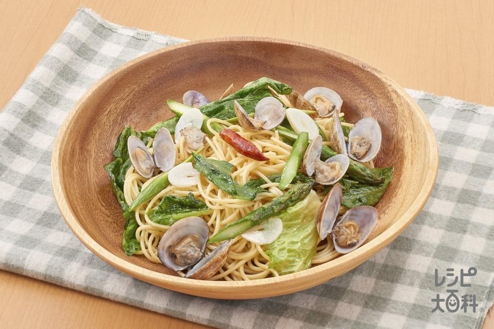 あさりと春野菜の和風パスタ(スパゲッティ+あさり(殻つき)を使ったレシピ)