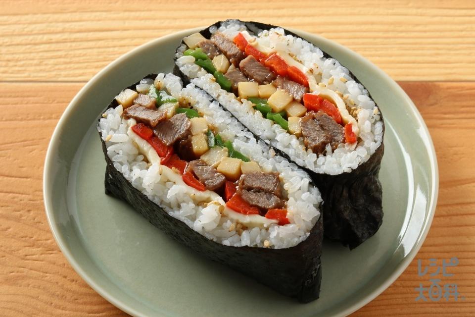 具リッチ青椒肉絲おにぎり (ご飯+牛もも薄切り肉を使ったレシピ)