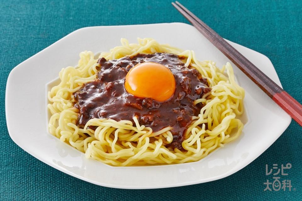 ジャージャー麺風、麻辣麻婆麺(中華生めん+卵黄を使ったレシピ)