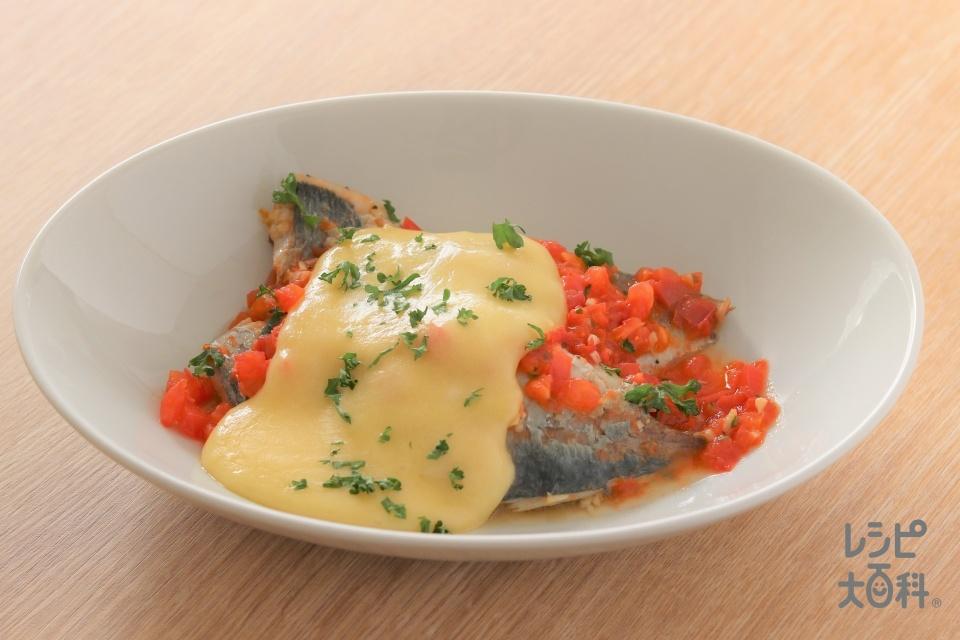 アジのトマトチーズ焼き(あじ三枚おろし+トマトを使ったレシピ)