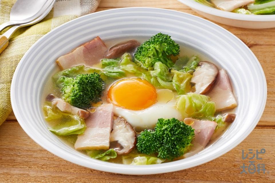 ごま油香る!キャベツとたまごのスープ野菜(キャベツ+ブロッコリーを使ったレシピ)