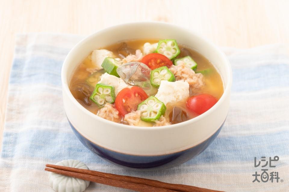 ツナと夏野菜の冷やしみそ汁(冷汁風)(ツナ油漬缶+ミニトマトを使ったレシピ)