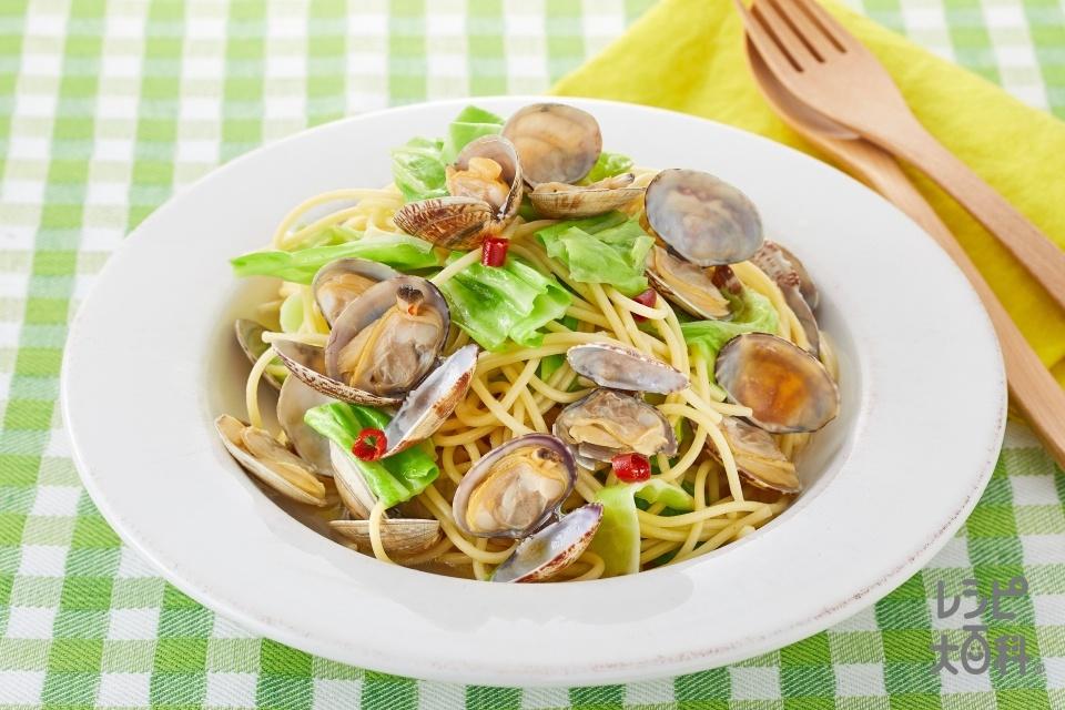 キャベツとあさりの簡単パスタ(スパゲッティ+あさり(殻つき)を使ったレシピ)