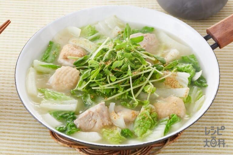 鶏もも肉と豆苗の炒め鍋