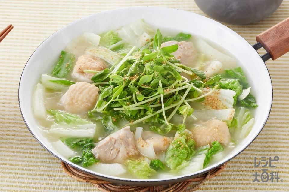 鶏もも肉と豆苗の炒め鍋(鶏もも肉+白菜を使ったレシピ)