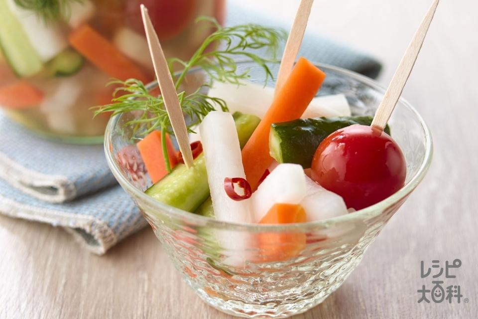 野菜のピリ甘ピクルス(大根+きゅうりを使ったレシピ)