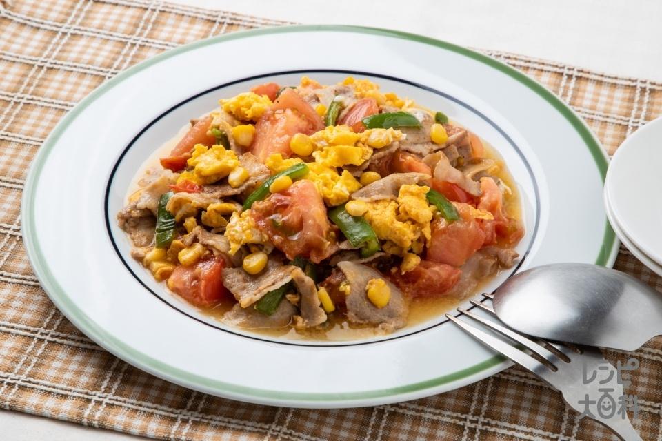 トマトと卵のWだし炒め(トマト+豚バラ薄切り肉を使ったレシピ)