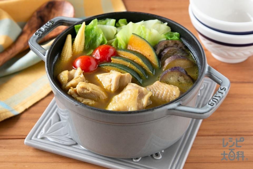 スパイス香る!夏野菜のカレー鍋(鶏もも肉+キャベツを使ったレシピ)