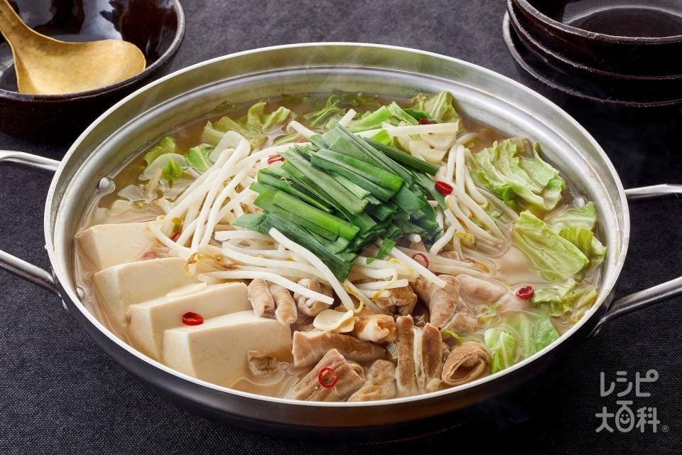 もつ鍋(ぽかぽか生姜みそ)(牛モツ+キャベツを使ったレシピ)