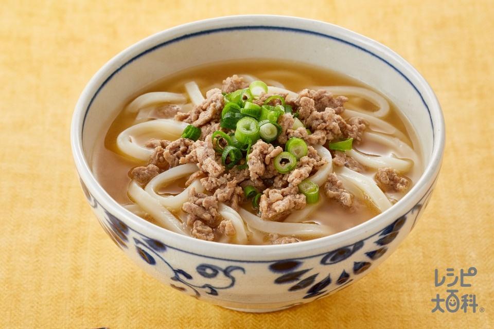 肉みそうどん(ぽかぽか生姜みそ)(生うどん+豚ひき肉を使ったレシピ)