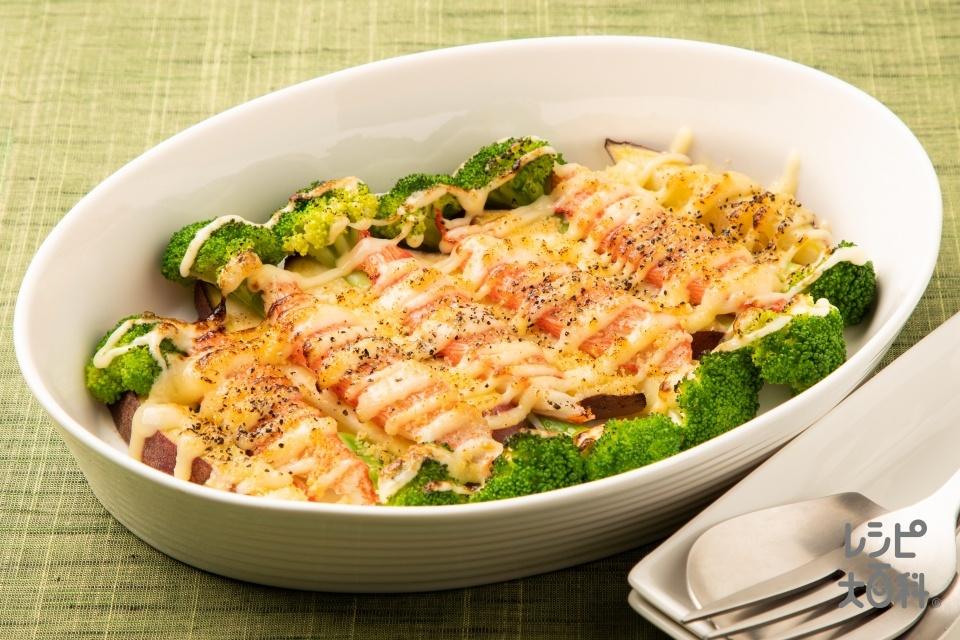 ブロッコリーとカニカマの彩りマヨネーズ焼き(さつまいも+ブロッコリーを使ったレシピ)