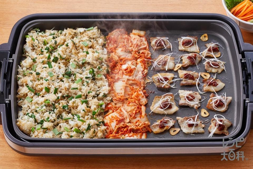 じゃこニラしょうゆ飯 × サムギョプサル(ご飯+ちりめんじゃこを使ったレシピ)