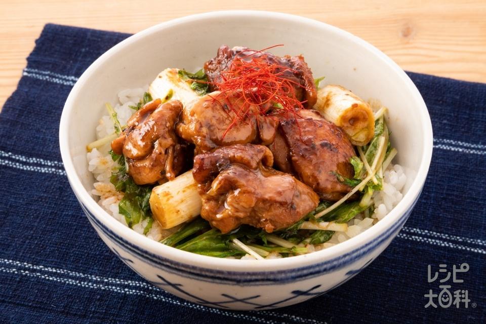 ホイコー焼き鳥丼(鶏もも肉+水菜を使ったレシピ)