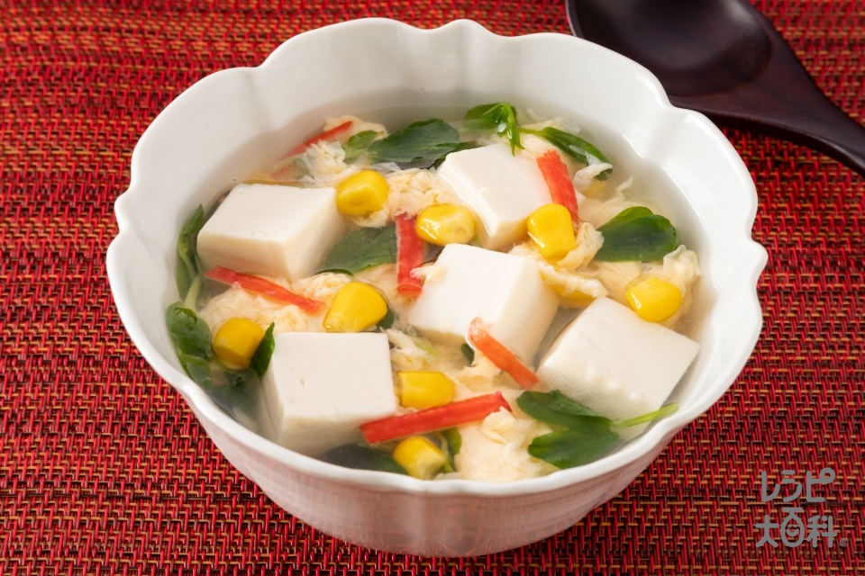 豆苗と豆腐の彩り中華スープ(豆苗+木綿豆腐を使ったレシピ)